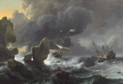 Ludolf Backhuysen - Ships in Distress off a Rocky Coast, 1667