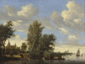 Salomon van Ruysdael - River Landscape with Ferry, 1649