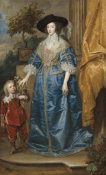 Sir Anthony van Dyck - Queen Henrietta Maria with Sir Jeffrey Hudson, 1633