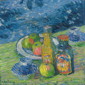 Alexej von Jawlensky - Still Life with Bottles and Fruit, 1900 height=