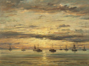 Hendrik Willem Mesdag - Sunset at Scheveningen: A Fleet of Fishing Vessels at Anchor, 1894