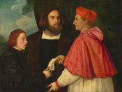 Follower of Titian - Girolamo and Cardinal Marco Corner Investing Marco, Abbot of Carrara, with His Benefice, c. 1520/1525