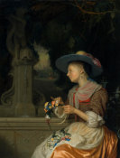 Godefridus Schalcken - Woman Weaving a Crown of Flowers, c. 1675/1680