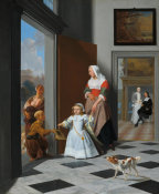 Jacob Ochtervelt - A Nurse and a Child in an Elegant Foyer, 1663