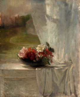 John La Farge - Flowers on a Window Ledge, c. 1861