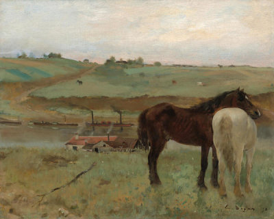 Edgar Degas - Horses in a Meadow, 1871