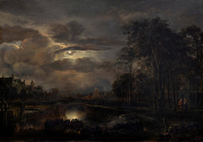 Aert van der Neer - Moonlit Landscape with Bridge, probably 1648/1650