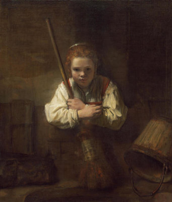 Rembrandt Workshop - A Girl with a Broom, probably begun 1646/1648 and completed 1651