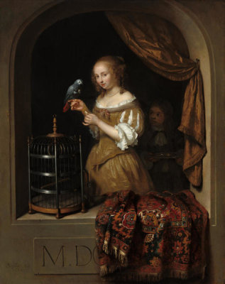 Caspar Netscher - A Woman Feeding a Parrot, with a Page, 1666