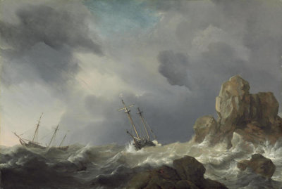 Willem van de Velde the Younger - Ships in a Gale, 1660