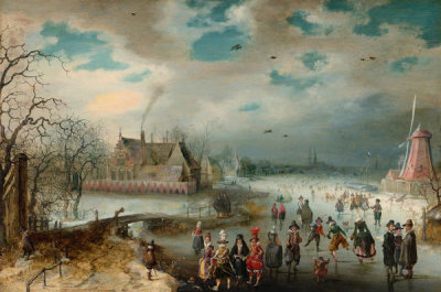 Adam van Breen - Skating on the Frozen Amstel River, 1611