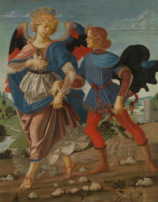 Andrea del Verrocchio, Leonardo da Vinci, and assistants - Tobias and the Angel, c. 1470