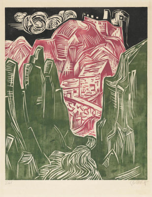 Karl Schmidt-Rottluff - A Road with a Castle and Houses in Rocky Mountains, 1926