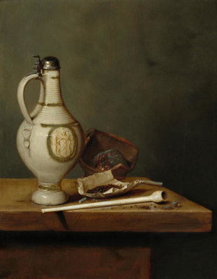 Jan Jansz van de Velde III - Still Life with Stoneware Jug and Pipe, 1650